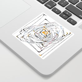 drawing square triangle and circle pattern abstract in orange blue and pink Sticker