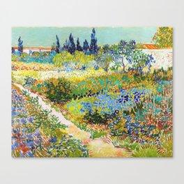 Vincent van Gogh - Garden At Arles, Flowering Garden With Path - Digital Remastered Edition Canvas Print