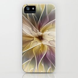 Floral Fantasy, Abstract Fractal Art iPhone Case