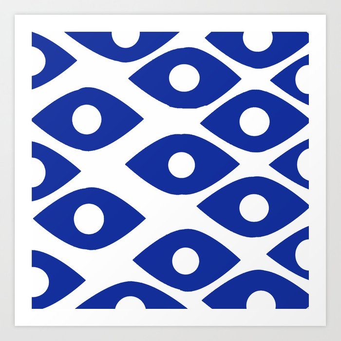 Blue and White Pattern Fish Eye Design Kunstdrucke