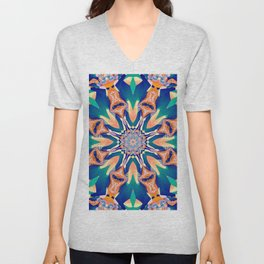 Abstract kaleidoscope with tribal patterns Unisex V-Neck