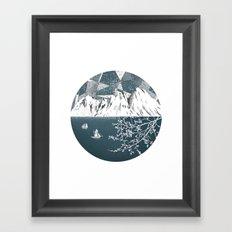 Mountain print , Navy Blue poster , mid century Modern art , travel poster Framed Art Print