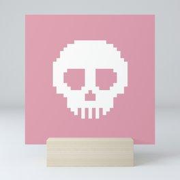 Pixel Skulls - Pink Mini Art Print