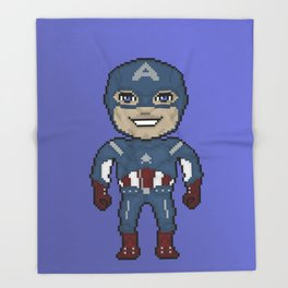 Pixelated Heroes Capt. America Super Hero Throw Blanket