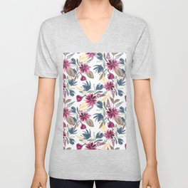 Burgundy Blue Brown Gold Watercolor Fall Flowers Unisex V-Neck
