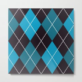 Halloween blue argyle pattern Metal Print