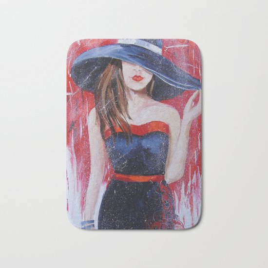 The girl in the hat Bath Mat