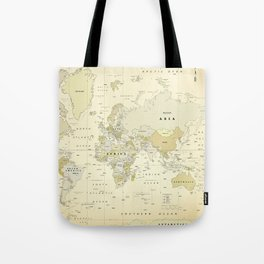 Vintage World Map Print Tote Bag