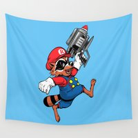 rocket Wall Tapestries featuring Super Rocket by Nikoby