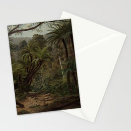 Ferntree and Palms, Tropical Gully landscape portrait by Eugene von Guerard Stationery Cards