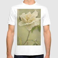 Vintage Rose Mens Fitted Tee MEDIUM White