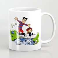 calvin and hobbes Mugs featuring Little Viking and Strong Man ('Calvin and Hobbes' / 'Pete and Pete' parody) by PeterParkerPA
