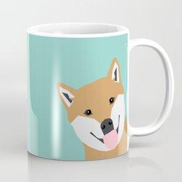 Shiba Inu Peek - cute shiba doge peeking funny dog art print mint turquoise customizable dog gift Coffee Mug