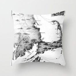 Vintage Map of Cape Cod (1885) BW Throw Pillow