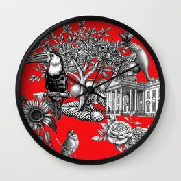 Collage rouge 5 Wall Clock