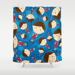 Cartoon Soccer Player Pattern Shower Curtain
