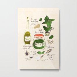 Pesto. Illustrated Recipe. Metal Print