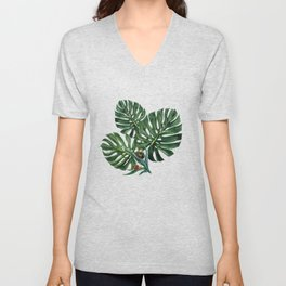 Monstera leaf with snails Unisex V-Neck