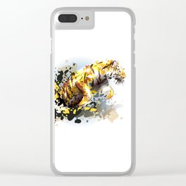 Abstract illustration of a leaping tiger Clear iPhone Case