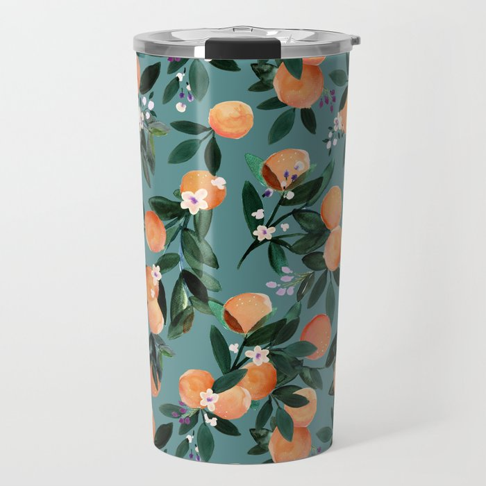 Dear Clementine - oranges teal by Crystal Walen Travel Mug