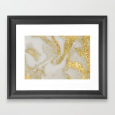 Marble - Swirled Shimmer Gold Marble Yellow on White Marble Framed Art Print
