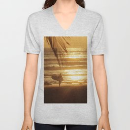 Golden Beach with Surfer (Color) Unisex V-Neck