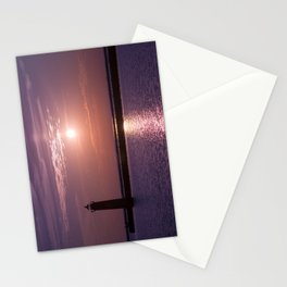Lavender Twilight Lake Michigan Muskegon Lighthouse Sunset Stationery Cards