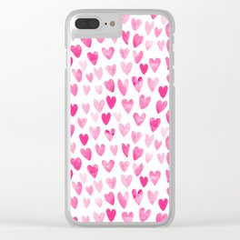 Hearts Pattern watercolor pink heart perfect essential valentines day gift idea for her Clear iPhone Case