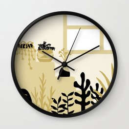plants and pots on the stairs Wall Clock