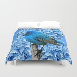 BLUE BIRD & BLUE HYDRANGEAS ART Duvet Cover