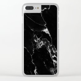 Black Marble I Clear iPhone Case