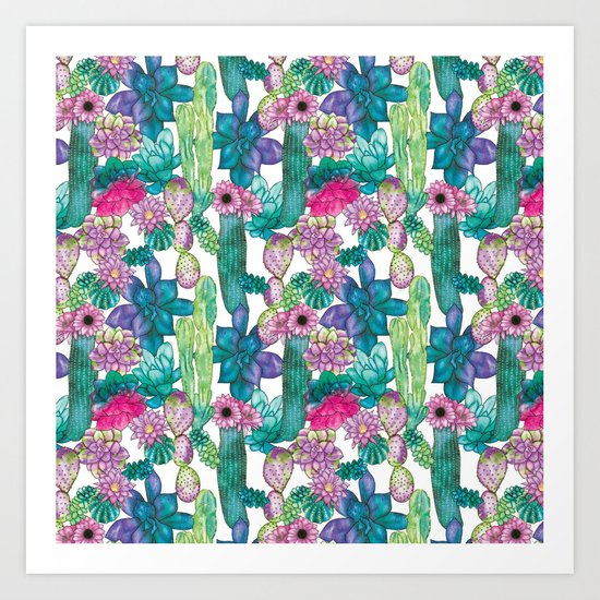 Cactus and succulents pattern Art Print
