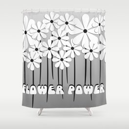 Flower Power in Black and White Shower Curtain
