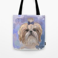 shih tzu Tote Bags featuring Shih tzu  by Michelle Behar