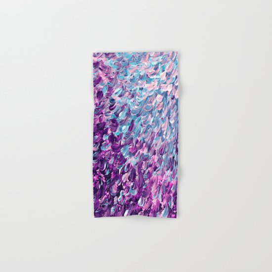 FROSTED FEATHERS 1 Colorful Lavender Purple Lilac Serenity Rose Quartz Ombre Ocean Splash Abstract Hand & Bath Towel