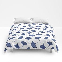 Blue Ginkgo Biloba Pattern Comforters