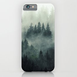 Green misty mountain pine forest in cloudy and rainy - vintage style photo iPhone Case