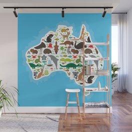 map of Australia. Echidna Platypus ostrich Emu Tasmanian devil Cockatoo parrot Wombat snake turtle Wall Mural