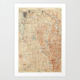 Vintage Burlington Vermont Topographic Map (1904) Art Print