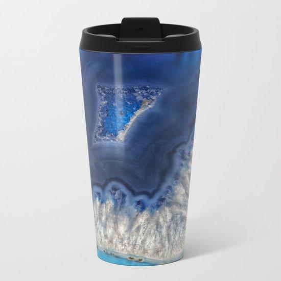 Blue agate crystal Metal Travel Mug
