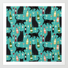 Black cat wine champagne cocktails cat breeds cat lover pattern art print Art Print