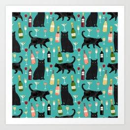 Black cat wine champagne cocktails cat breeds cat lover pattern art print Art Print