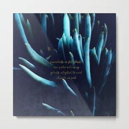SUCCULENTS in Dark Blue Metal Print