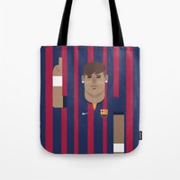 neymar Tote Bags featuring Neymar Barcelona Illustration Print by Gary  Ralphs Illustrations