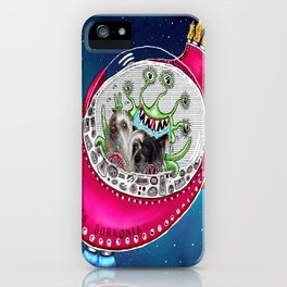 Chinese Crested Hairless Dogs in Space  iPhone Case