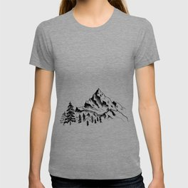 Mountain sketch. Hand drawn black mountains and forest, isolated on white. T-shirt