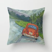 volkswagon Throw Pillows featuring Rainy Day Bug by Barb Laskey Studio