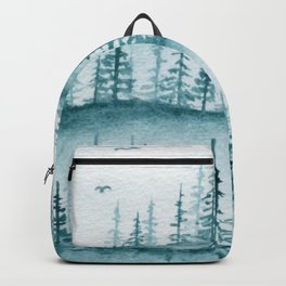 Mayan Blue Monochrome Pine Landscape watercolor painting Backpack