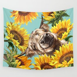Highland Cow with Sunflowers in Blue Wall Tapestry