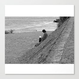 Woman Reading on Hill in France - Black and White Canvas Print